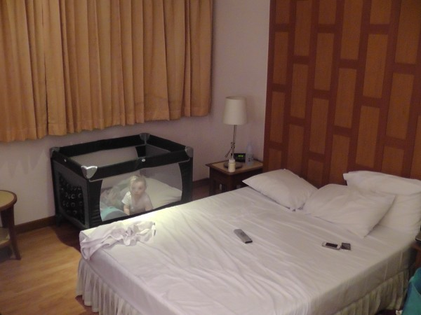 Our Room at New Siam Riverside - Reuben in His Portacot