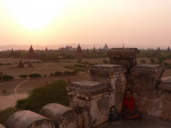 Temple Bagan Sunset Boy