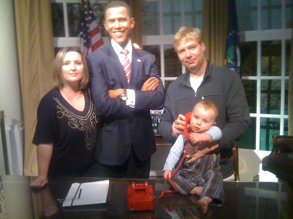 Flashpacker Family with Obama, Madame Tussauds, Las Vegas
