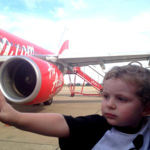 Reuben and Lee boarding an Air Asia flight from Bangkok to Saigon