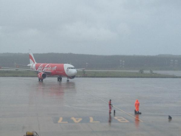 Air Asia Plane at Krabi Airport, Wet Season, Thailand