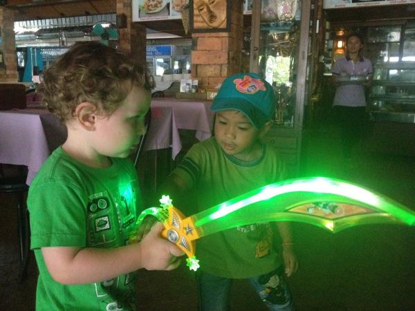 Making friends with local kids, Krabi, Thailand