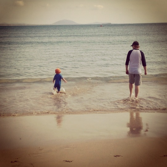 Lee and Reuben on the Beach in Mooloolaba, Australia