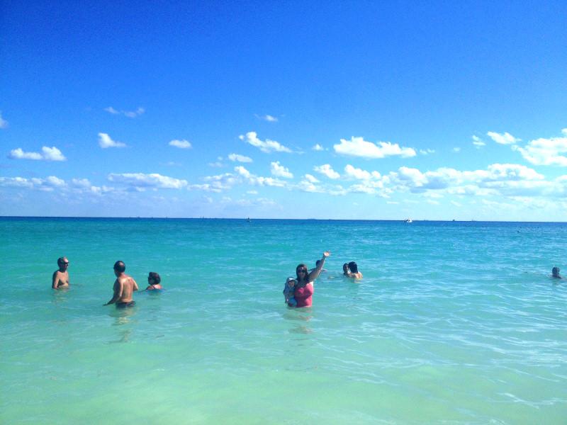 Bethaney and Hazel Swimming at Beach, Playa del Carmen, Mexico