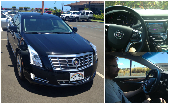 Hiring a Car in the US, Lee Driving Our Cadillac in Kauai