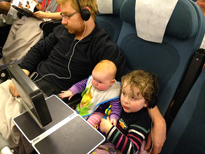 On Plane, Auckland to Honolulu, Flying with Kids, Family Travel