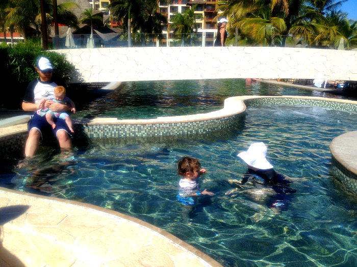 Swimming in Cancun, Mexico with Grandparents