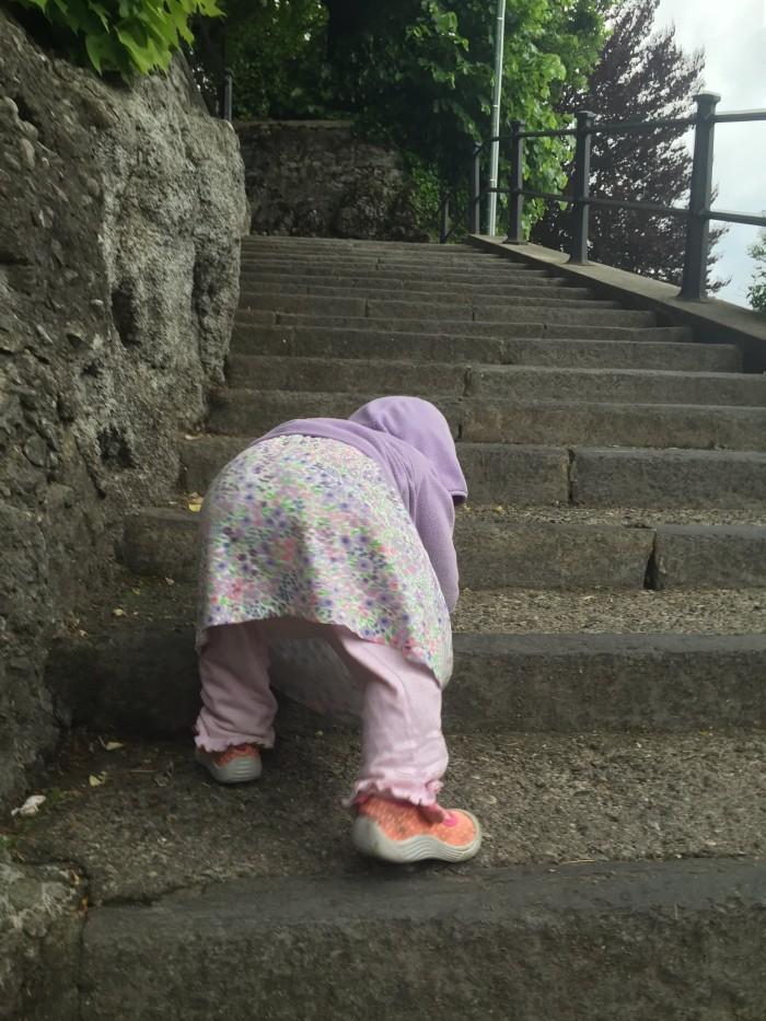 Hazel Climbing Stairs in Lake Como, Italy