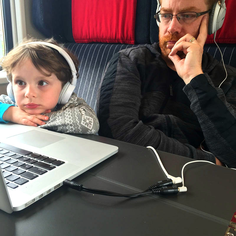 Reuben and Lee Using Laptop on Train in Switzerland