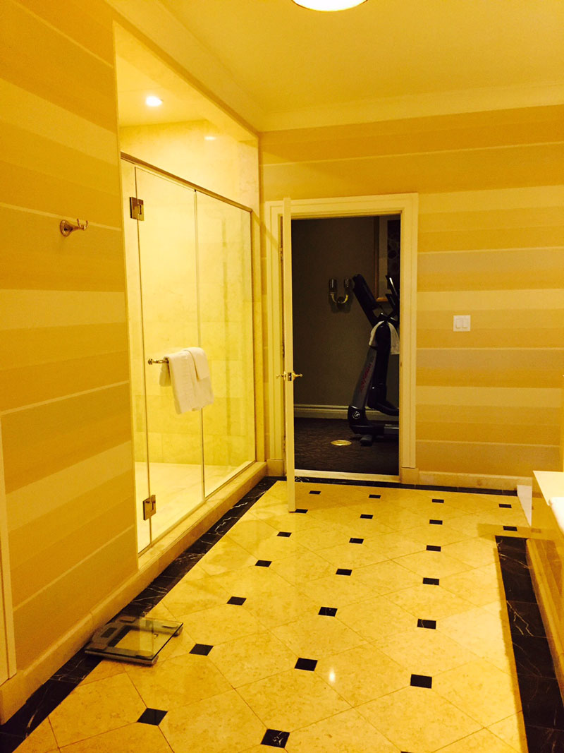 Bathroom leading to Private gym, Siena Suite, The Palazzo, Las Vegas