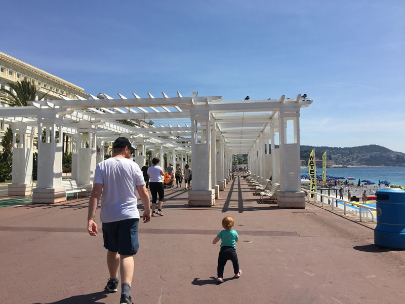 Hazel & Lee Walking on the Promenade Anglais in Nice, France