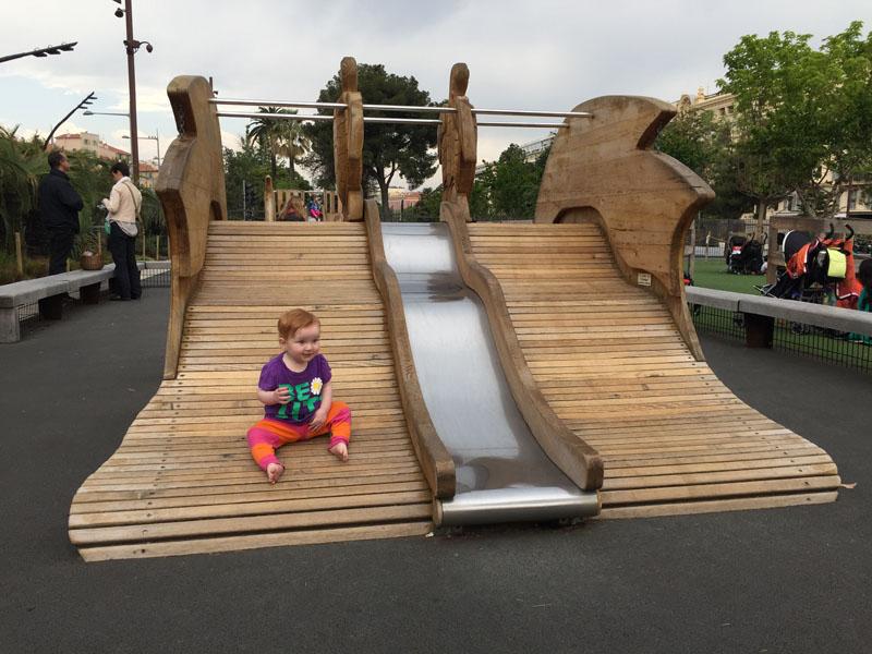 Hazel on Slide, Playground at Promenade du Paillon, Nice, France