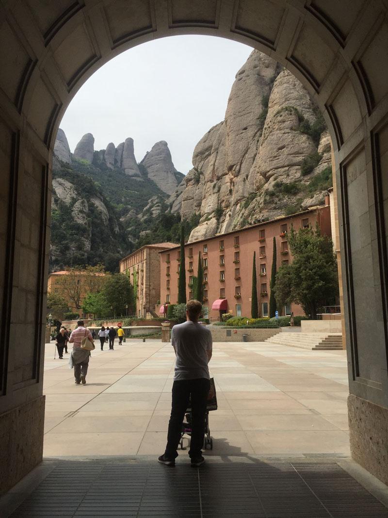 Lee Pushing the Stroller Around Montserrat in Spain