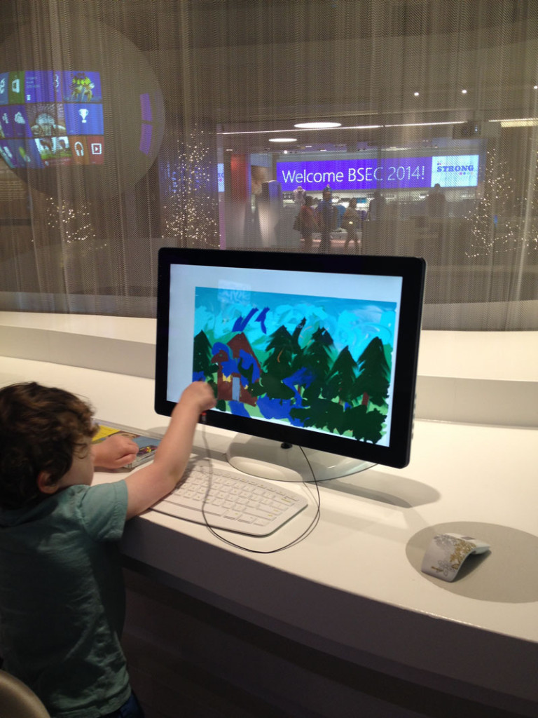 Reuben-Playing-Microsoft-Visitors-Center, day trips from Seattle with kids