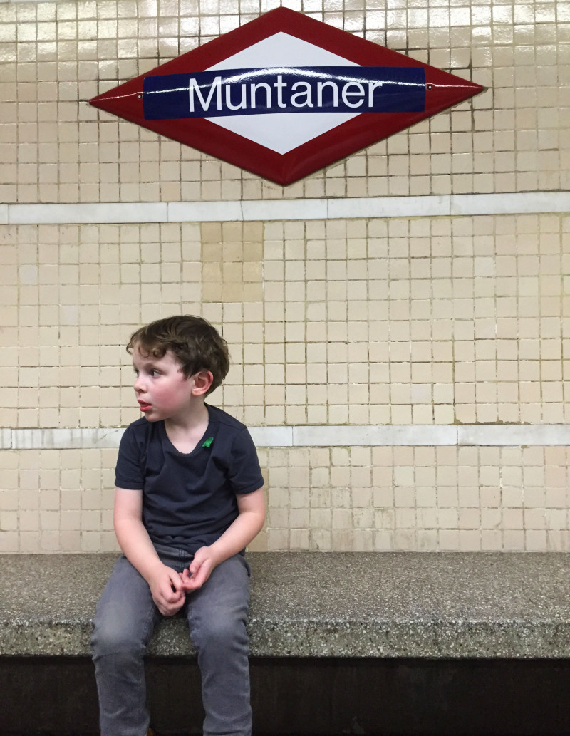 Reuben Waiting for a Train in Barcelona, Spain