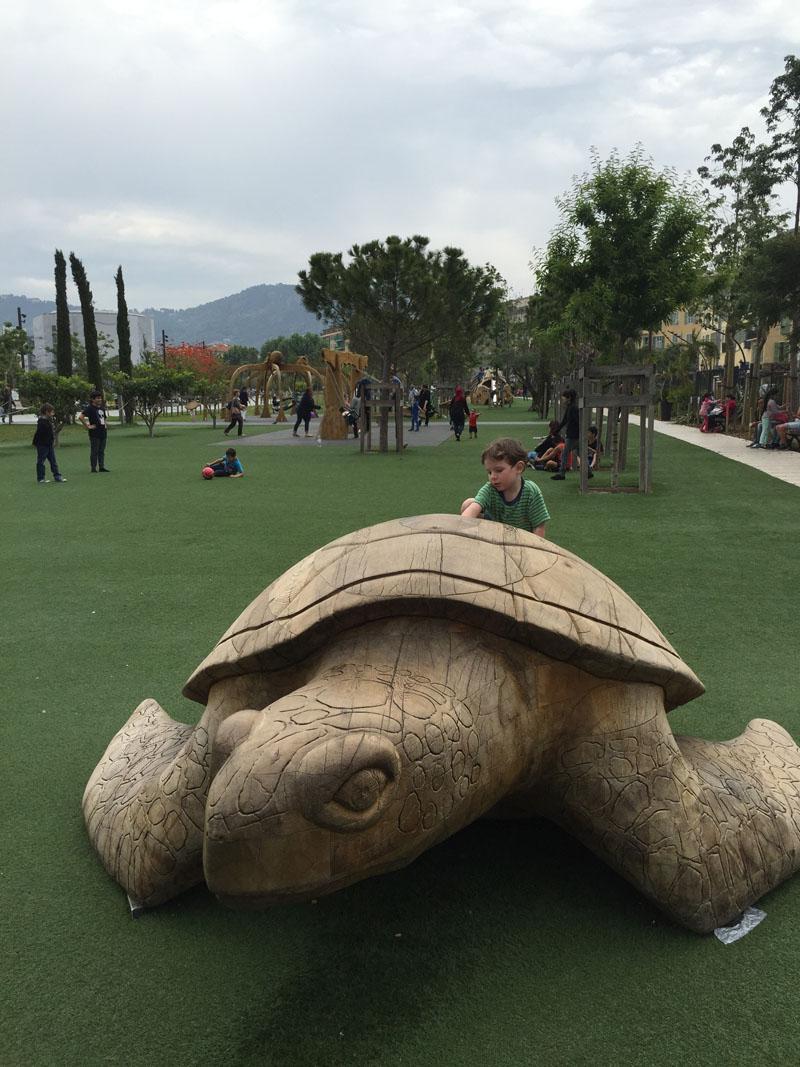 Reuben and Turtle, Playground at Promenade du Paillon, Nice, France