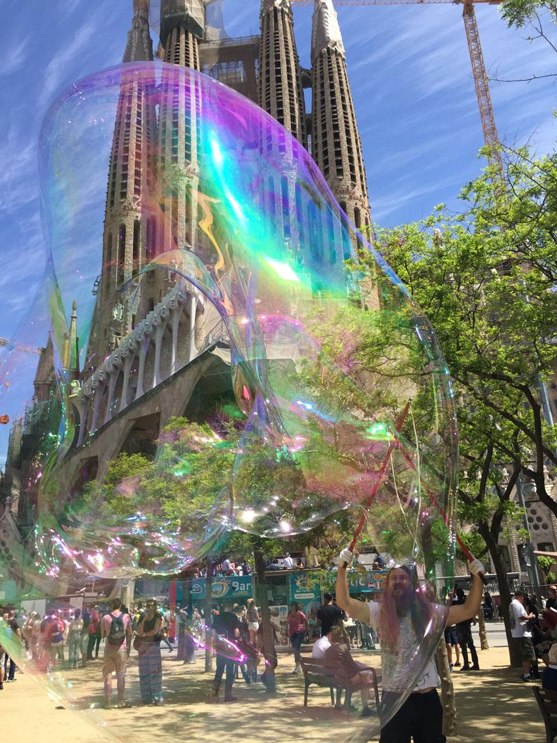 Admiring Sagrada Familia Through the Bubbles, Spain