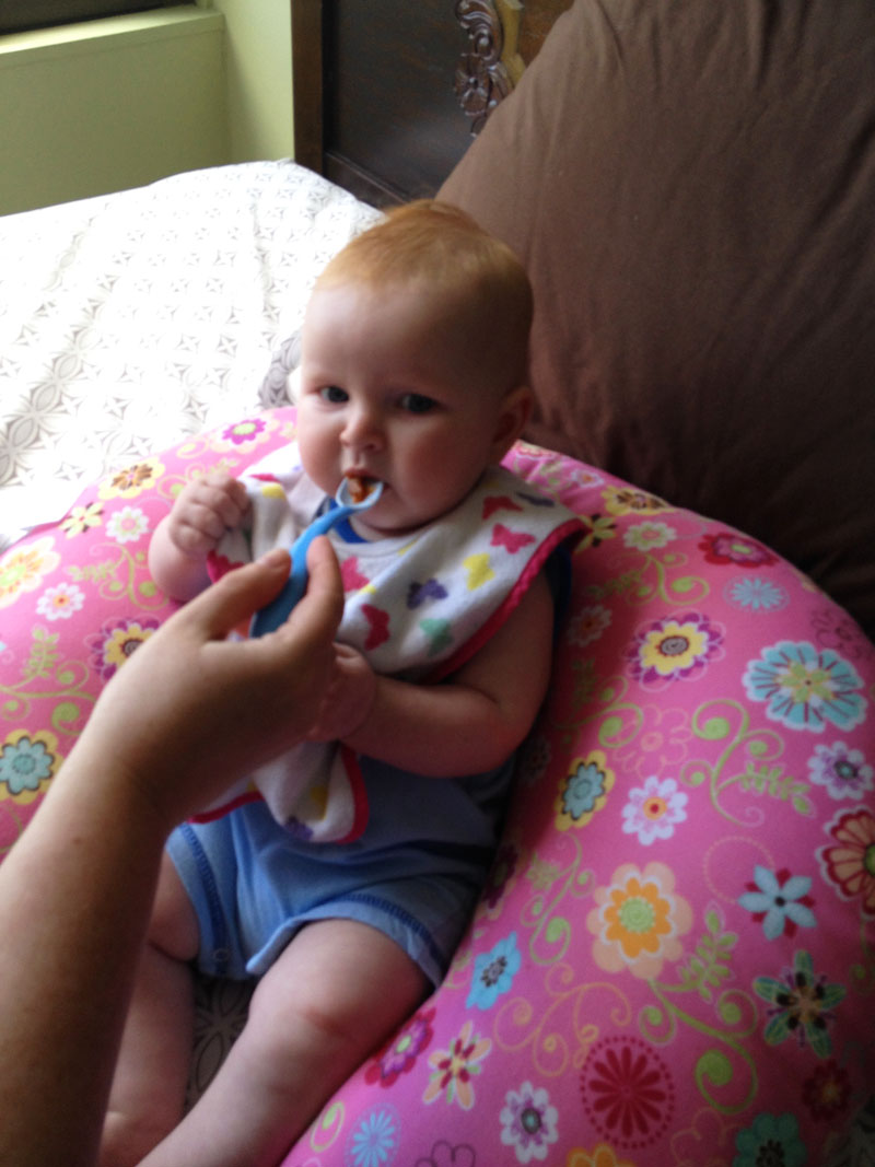baby travel gear, Feeding Hazel in Her Boppy in Hawaii