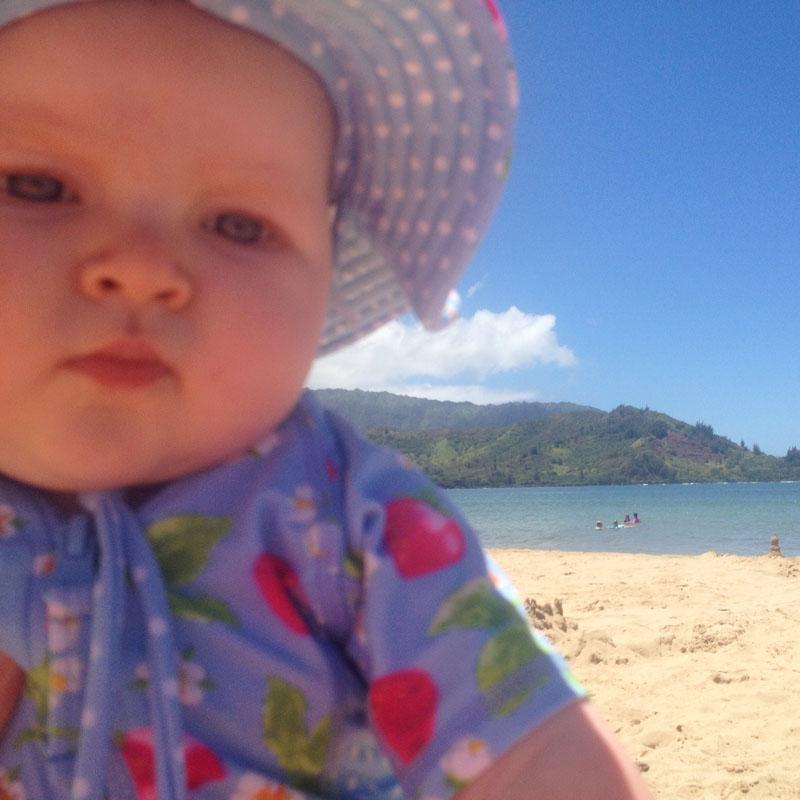 baby travel gear, Hazel on Beach in Kauai, Hawaii