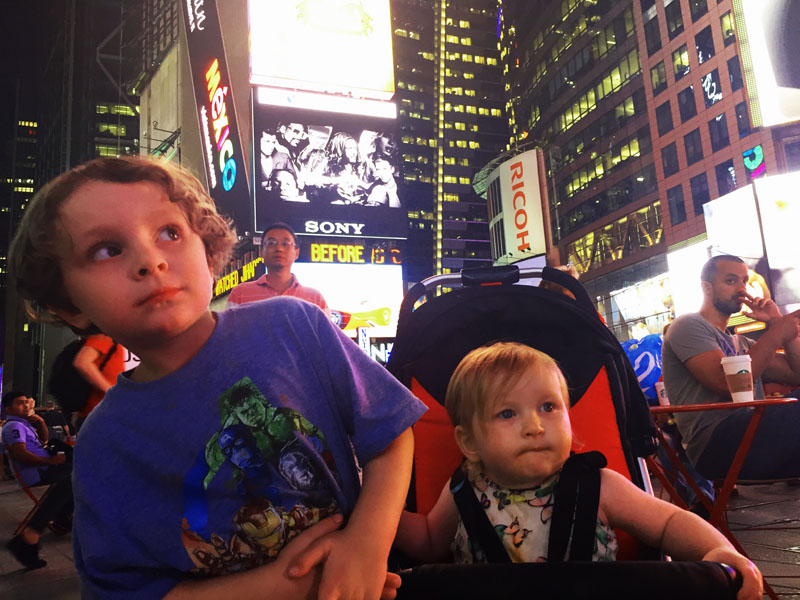 Reuben and Hazel in Times Square, New York