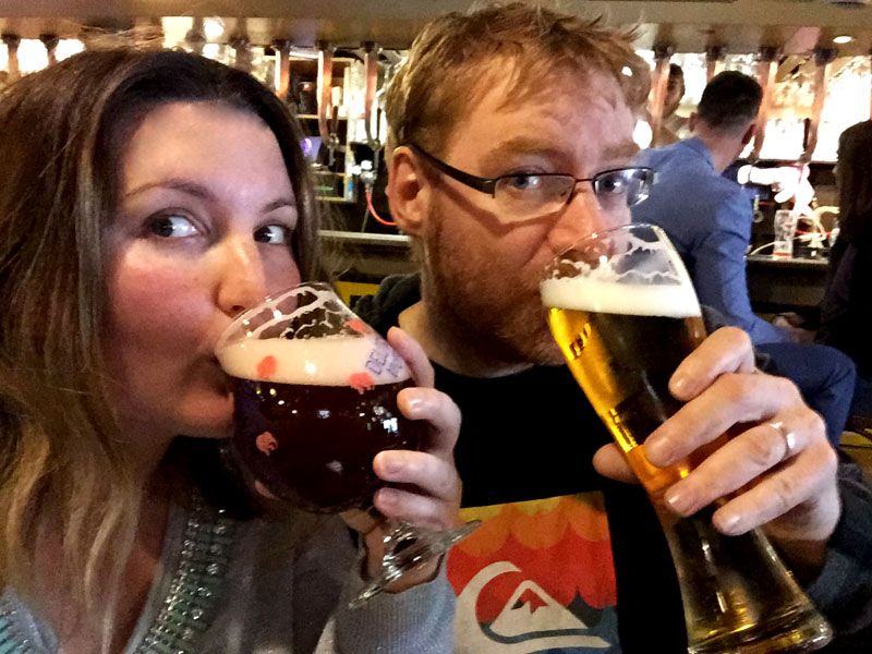 Bethaney and Lee Drinking Beer in Brussels, Belgium
