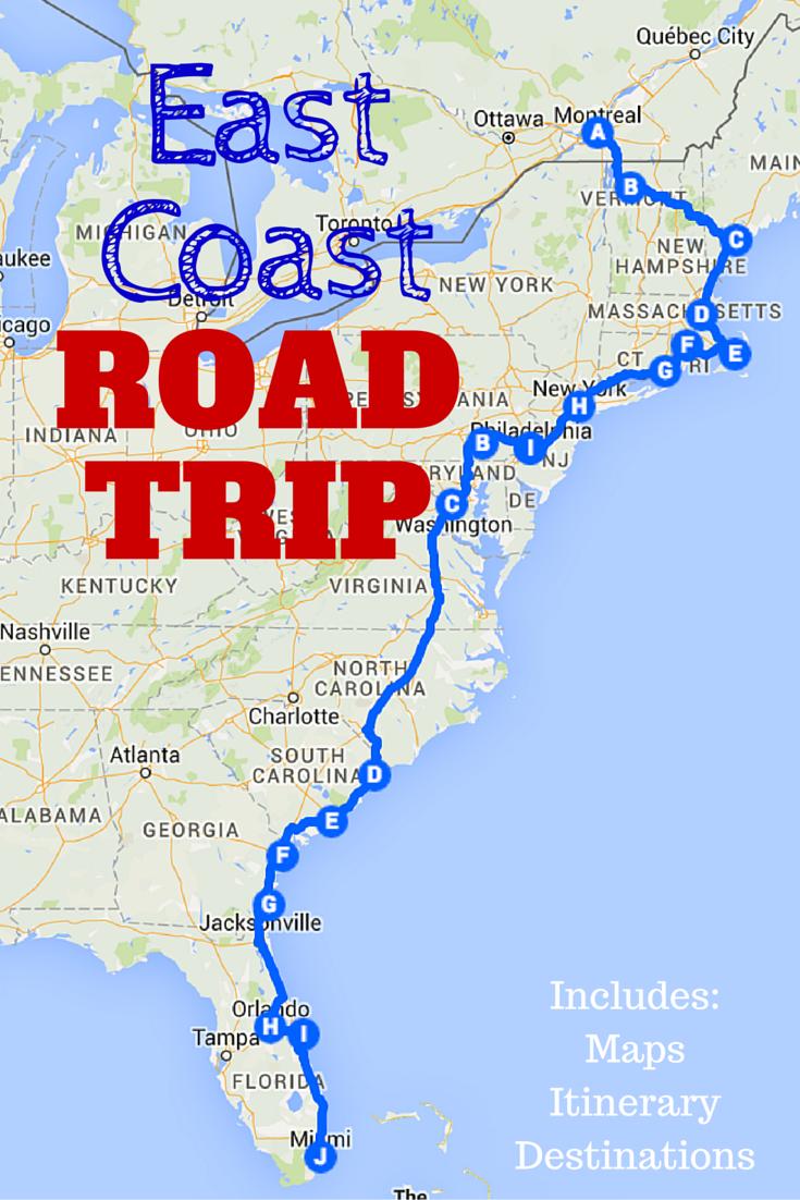 East Coast Road Trip, East Coast Road Trip Map, East Coast Road Trip Itinerary
