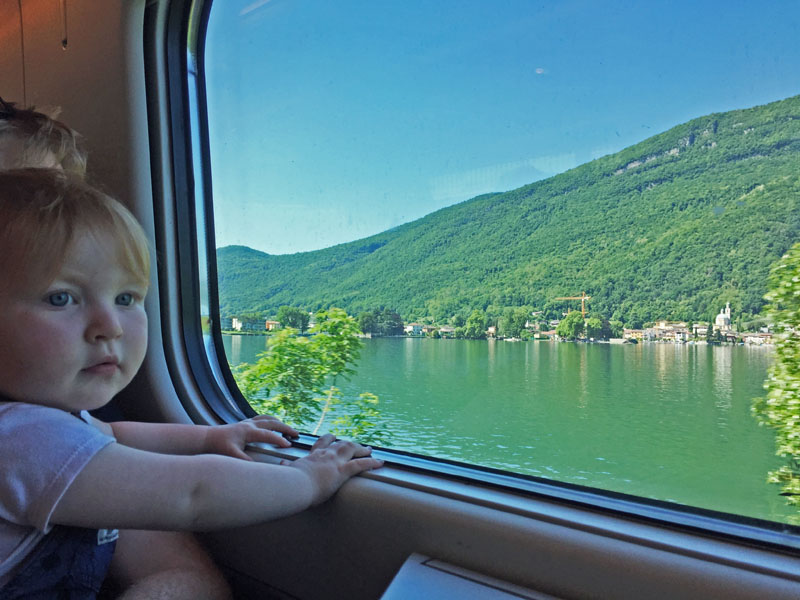 Hazel Watching Switzerland Roll By in Train