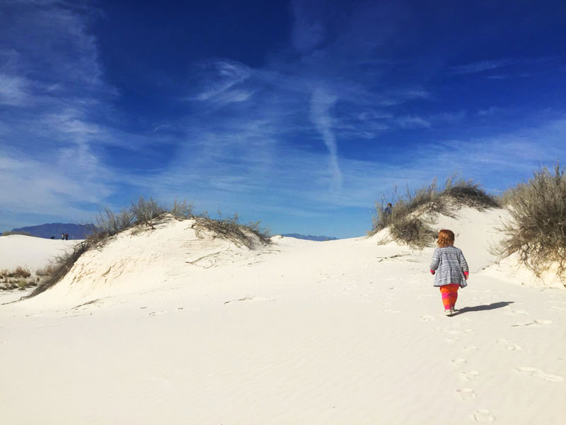 Hazel at White Sands National Monument in New Mexico. We only ended up here because of our flexible travel plans!