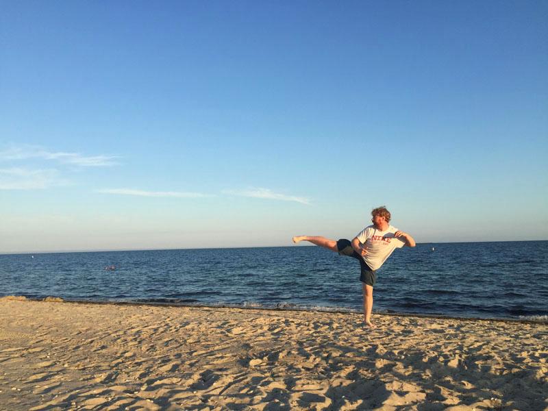Lee doing Kung Fu on beach, Cape Cod, East Coast Road Trip