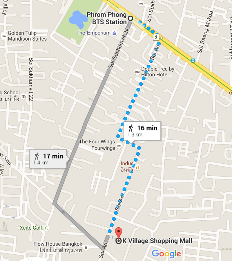Directions to Funarium from Phrom Phong BTS