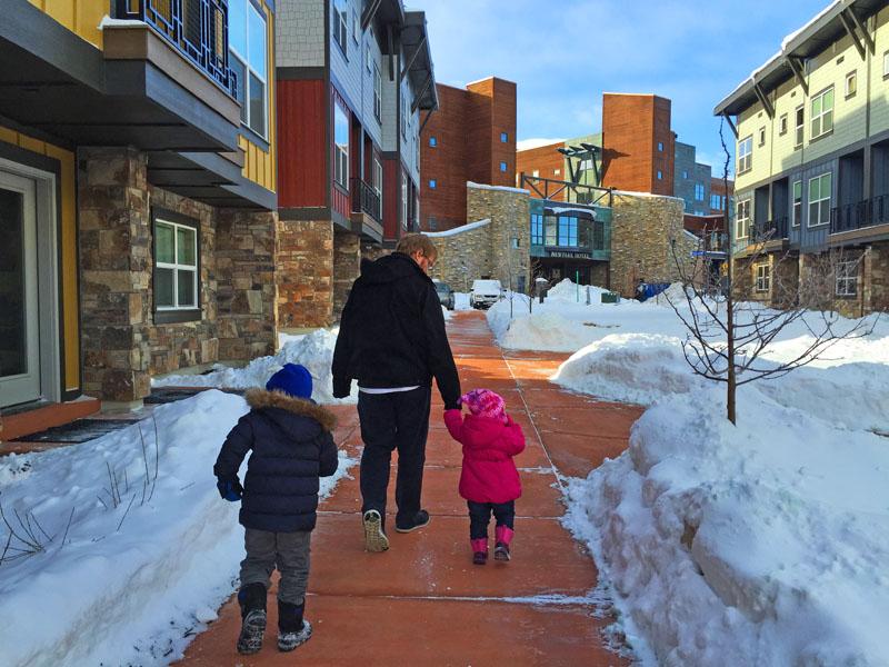 Lee Reuben and Hazel Walking around Kimball Junction, Park City