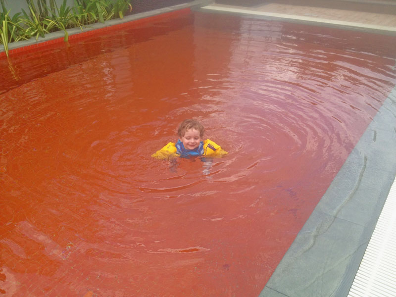 Orange Pool at Radisson Bangkok, Where to Stay in Bangkok with kids.