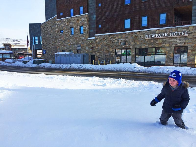 Reuben upto his knees in Snow in Kimball Junction, Park City