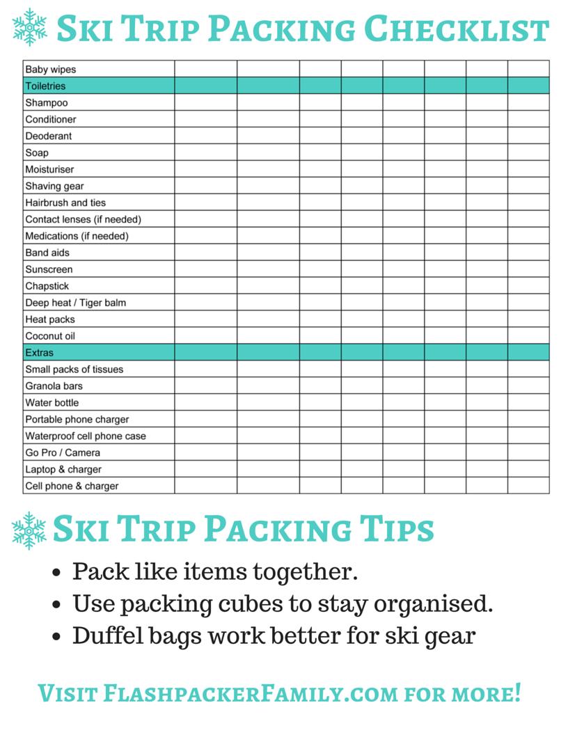 Ski Trip Packing List Page 2