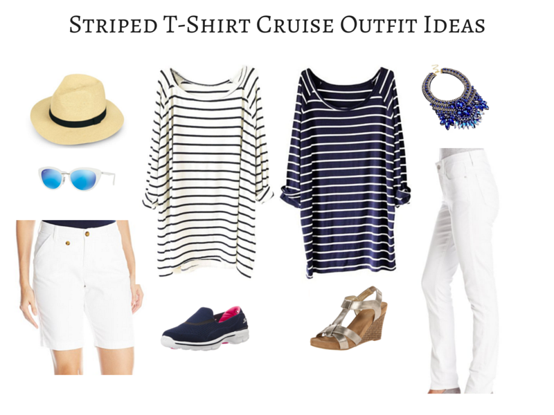 Striped T-Shirt Cruise Outfit Ideas