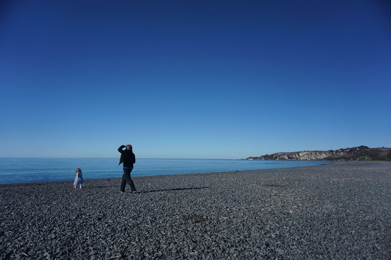 Lee and Hazel on the Beach in Kaikoura