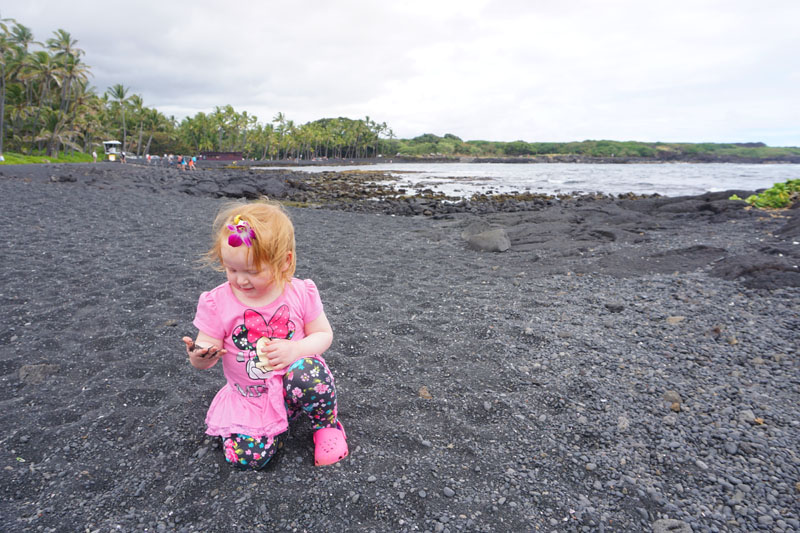 Hazel on Punaluu Black Sand Beach, Big Island, Hawaii