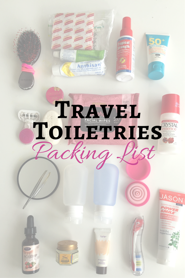 Travel Toiletries Packing List