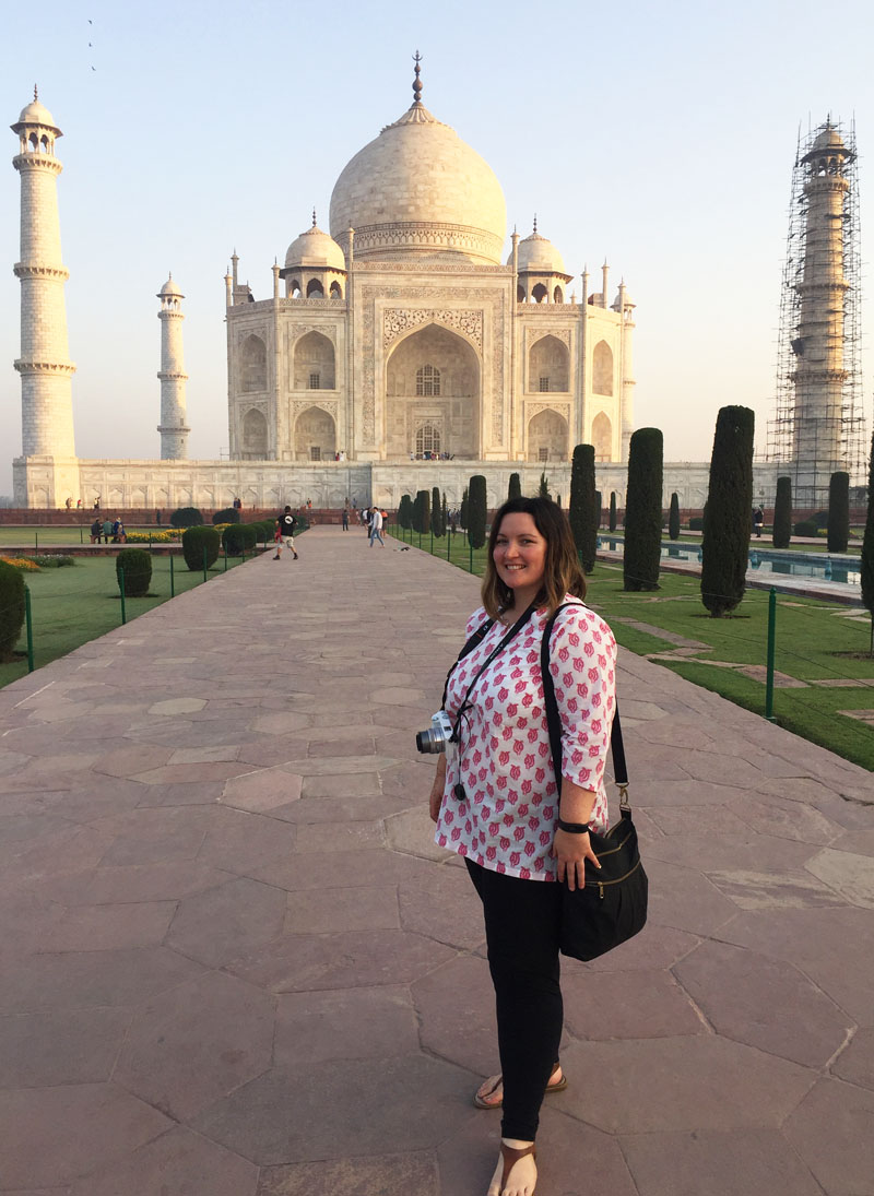 Bethaney at the Taj Mahal at Dawn, India