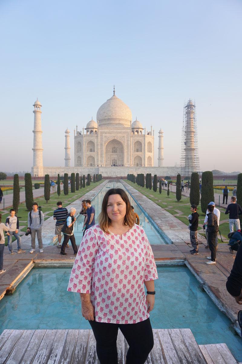 Bethaney at the Taj Mahal at Dawn, India