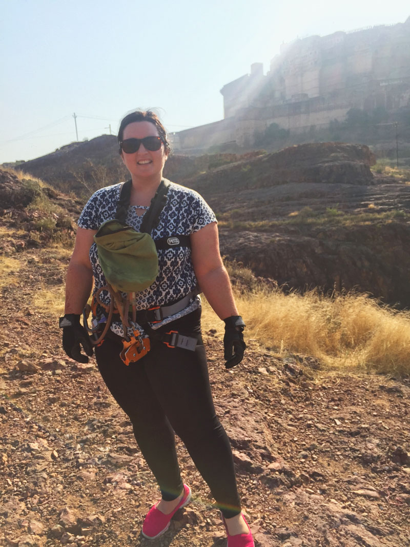 Bethaney Geared Up for a Zipline Tour in Jodhpur, India