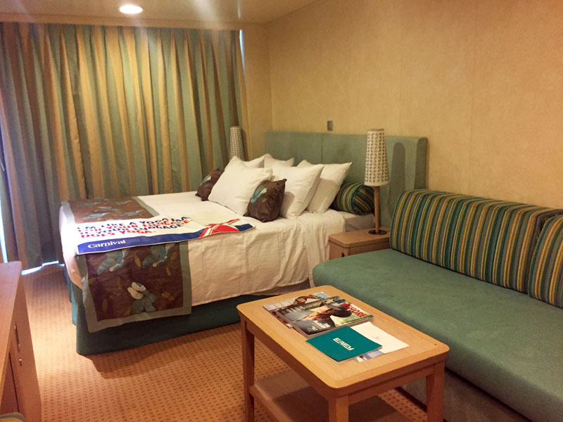 Our spa balcony stateoom onboard the Carnival Breeze