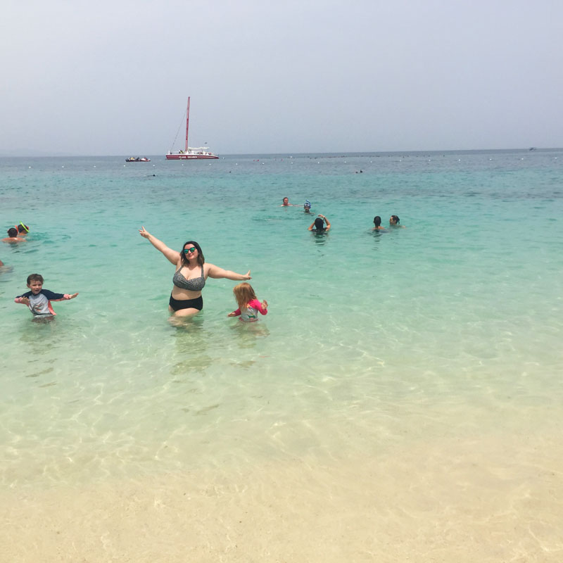 Bethaney, Reuben and Hazel at Doctor's Cave Beach, Montego Bay in Jamaica