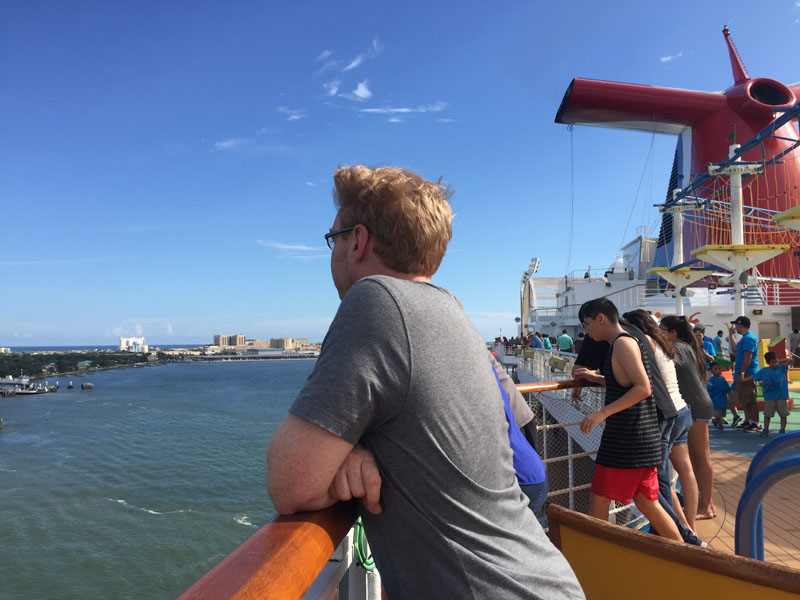 Lee enjoying the view as we sail away from Galveston