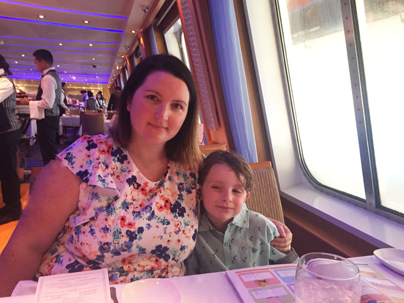 Bethaney and Reuben in the main dining room on the Carnival Breeze