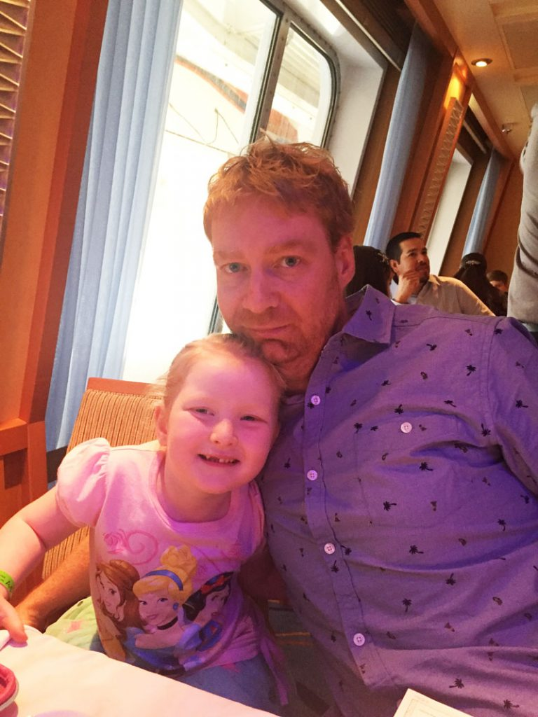 Hazel and Lee in the main dining room on the Carnival Breeze