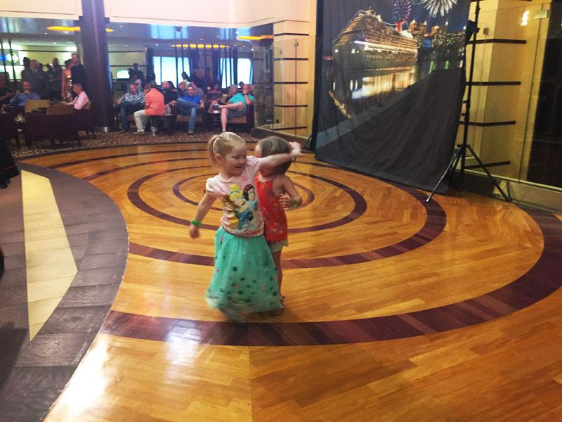 Hazel and a friend having a pre-dinner dance