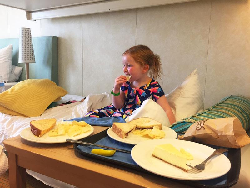 Hazel eating room service on the Carnival Breeze