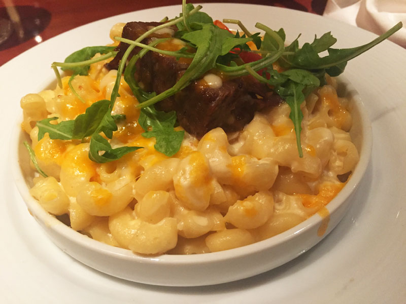 Mac & Cheese with Steak from the Sea Day brunch in the main dining room on Carnival Breeze