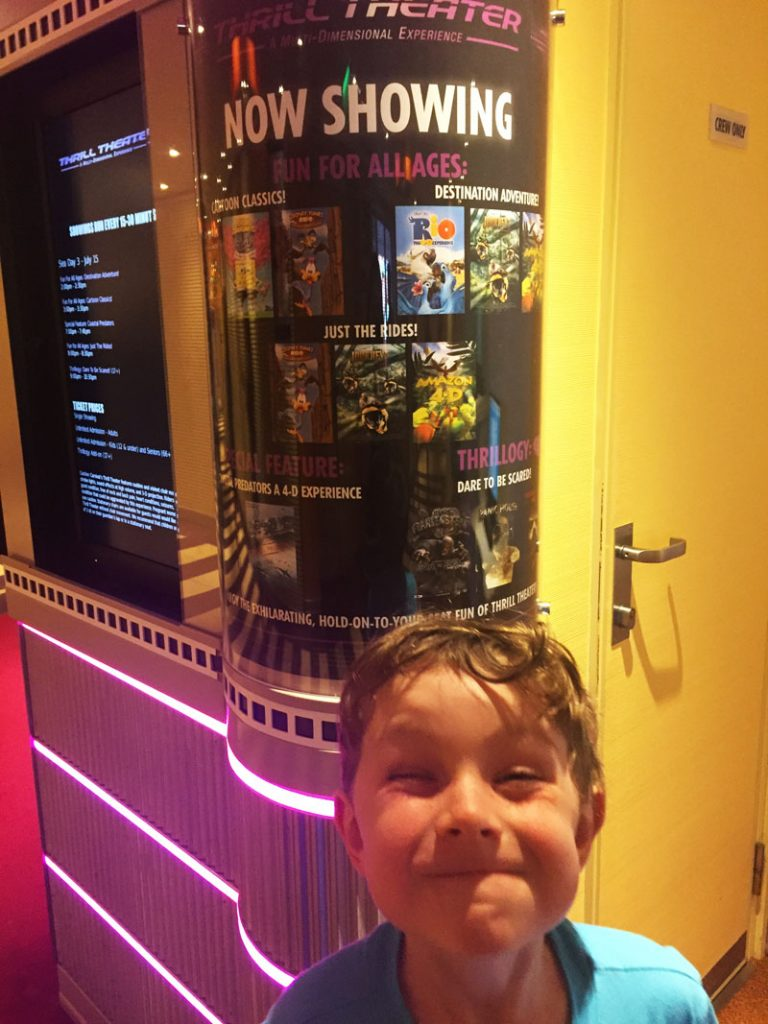 Reuben at the 5D theater on the Carnival Breeze